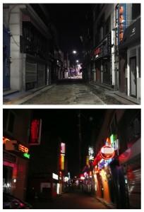 동두천 기지촌 클럽 거리, 코로나 펜데믹 전(아래)과 후(위)